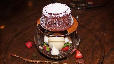 Lava cake served at the cocktail bar 16 - A Handmade Experience at The M Resort Spa Casino in Las Vegas, Nevada.