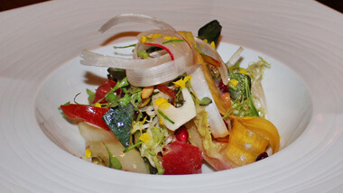A salad served at 16 - A Handmade Experience at The M Resort Spa Casino in Las Vegas, Nevada.