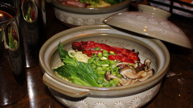 A pot of ramen served at 16 - A Handmade Experience at The M Resort Spa Casino in Las Vegas, Nevada.